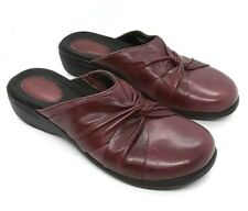 Clarks Artisan Womens 7.5 M Burgundy Red Mules Leather Slides Comfort Clog Shoes