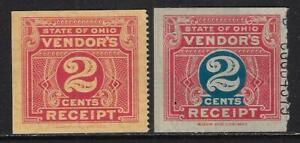 Vintage USA Revenue #CO-2c-1, CO-2c-4B Ohio Sales Tax Vendor Receipts - dw677k