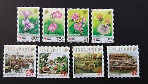 Singapore 1992 SG669/72 + SG677/80, 2 Sets, Wild Flowers & Local Artists U/M
