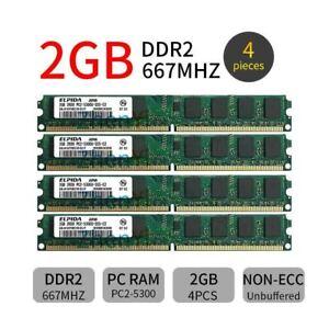 8GB Elpida 4x 2GB DDR2 667MHz PC2-5300U 240Pin DIMM intel Desktop RAM Memory ZT
