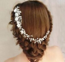 Pelo blanco marfil Plata Diamante Nupcial Peine de Vid casco perla Peine de Cabello