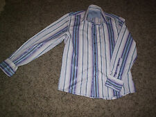 RIVER ISLAND STRIPED FITTED LONG SLEEVE SHIRT SIZE SMALL