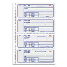 Rediform Receipt Book 2 3/4 x 7 Triplicate with Carbons 200 Sets/Book 8K808