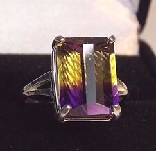 7.28CT REAL purple gold AMETRINE Sterling Silver COCKTAIL Ring Size 5 TO13