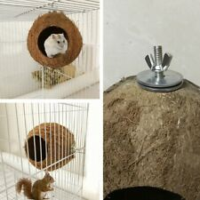 Pet Home Toy Natural Coconut Shell with chain Bird Nest Fun Hideaway For Parrot