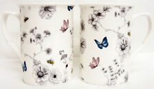 Secret Garden Mugs Set of 6 Bone China Floral Butterfly Mugs Hand Decorated UK