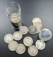 Barber Quarters 90% Silver Coin Quarter Roll $10 Face Value AG AG/Good 40 Coins