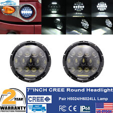 """7"""" Round Pair CREE Heavy Duty Truck LED Sealed Projector HID Headlights H5024"""