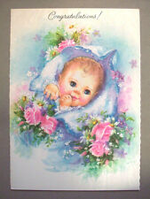 Unused new Baby glitter pink roses vintage greeting card  *T