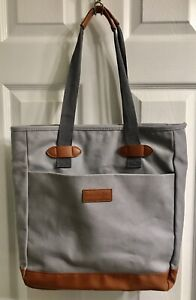 PAMPERED CHEF Conference Bag Tote Consultant Gray canvas Brown Leather LARGE