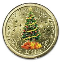 Australia 2011 Christmas Tree $1 One Dollar Coloured UNC Coin Perth Mint