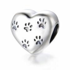 'Dog Paw Prints' Heart Charm Bracelet Bead - 925 Sterling Silver