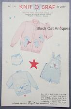 Vintage Knitograph Knit O Graf Pattern 135 Sweater Sunsuit Boys/Girls Sz 1, 2, 4