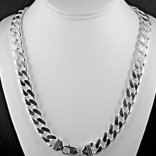 """Heavy 13mm Solid 925 Sterling Silver Cuban Link Curb Chain Mens Italy 24"""" length"""