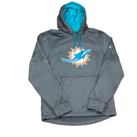 Miami Dolphins, Majestic Therma Base Hoodie Sweatshirt, Gray, Size Small, NFL