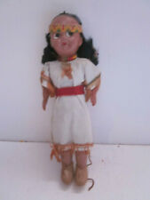"VINTAGE 6"" TALL HARD PLASTIC PAINTED EYES NATIVE AMERICAN INDIAN GIRL DOLL"
