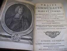 DENIS LE BRUN TRAITE DE LA COMMUNAUTE MARI & FEMME 1734 Portrait IN-FOLIO DROIT