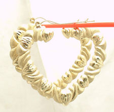 "2"" Heart Shaped Diamond Cut Hearts & Kisses Hoop Earrings REAL 10K Yellow Gold"