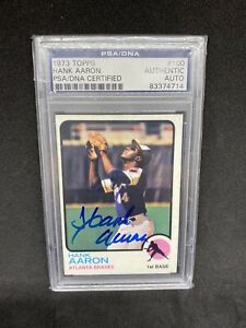 Hank Aaron 1973 Topps #100 Vintage Signed Autographed Card PSA/DNA Signed Blue