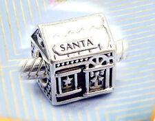Authentic Pandora SILVER Charm Bead 792003enmx Santa Claus House home Christmas