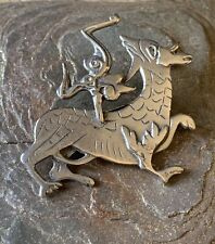OLA GORIE Vintage Scottish Silver Maeshowe Brooch Celtic Rare