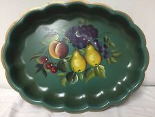 Vintage Hand Painted Metal Serving Bowl By Nashco Products