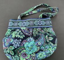 "Vera Bradley Blue Green Purple Purse Paisley Floral Quilted Villager Handbag 14"""