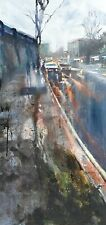 London Chalk Farm Dusk.  Original Mixed Media Painting on Canvas