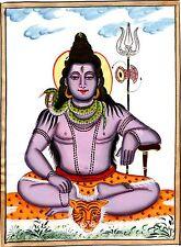Lord Mahadev Shiva Art Handmade Opaque Watercolor Hindu Spiritual Silk Painting