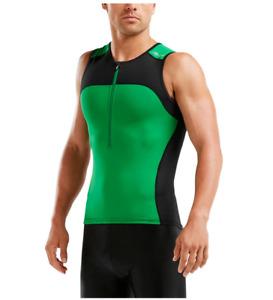 New 2XU Active Men Tri Singlet Black Green Triathlon Top Cycling Swim MEDIUM