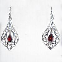 925 Sterling silver Garnet Gemstone Earring 2.45 gms Fine Beautiful  Jewlery