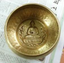 Hand Hammered TIbetan Singing Bowl Meditating Buddha Embossed - Size Small