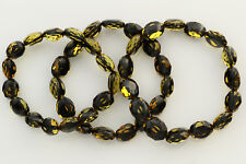 Baltic Amber Stretch Bracelet 26.3g b0913-8 Lot of 3 Faceted Olive Beads Genuine
