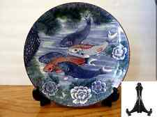 "1 PC.Japanese Plate 12.5""D KOI 5 Carps Lucky Fish Decorative w/Stand /Make Japan"