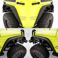 Stubby Rock Crawler Metal Front+Rear Fender Flares for 07-18 Jeep JK Wrangler