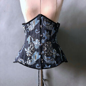 """Blue Silver Brocade Corset Bustier Lace Up Maiden Chic sz 36"""" Bust"""