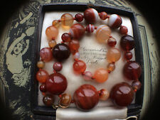 RARE ANTIQUE VICTORIAN SCOTTISH BANDED AGATE CARNELIAN BEADS NECKLACE 9CT CLASP