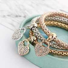Women 3Pcs/set Gold Silver Rose Gold Bracelets Rhinestone Bangle Jewelry  Pro AU