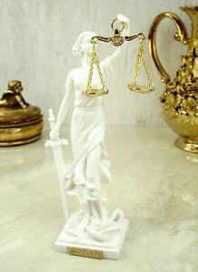 Alabaster Justitia Göttin Figur 17 cm Skulptur Themis BGB Recht weiß