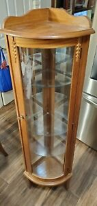 Corner china cabinet with Light with curved glass door