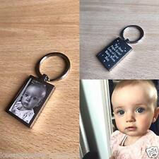 Personalised St. Steel Rectangle Keyring - Photo Engraved Father's Day Gift