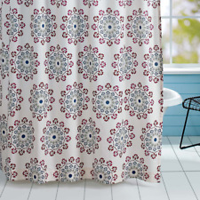 ANTIQUA Cotton Shower Curtain Red, Green, Blue on Cream