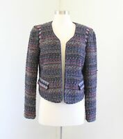 Ann Taylor Loft Piped Boucle Tweed Open Moto Blazer Jacket Size 6 Red Blue Wool