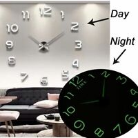 New Luminous Wall Clocks Large Clock watch Horloge 3D DIY Acrylic Mirror Sticer