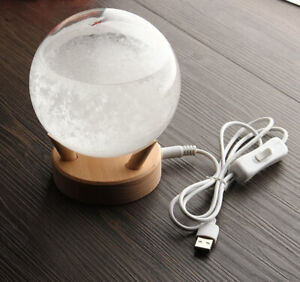 Storm Glass Barometer Weather Forecaster w/ built in LED Wooden Base - Circular