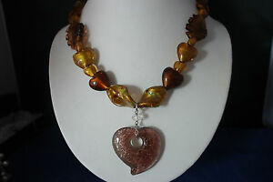 """Beautiful Murano Necklace 18"""" Inches Long + Pendant With Silver Clasps In Box"""