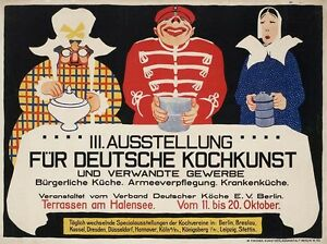 Werbung Reklame Plakat  Küche  Deutsche Kochkunst 1914