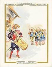 CHROMO AU BON MARCHE VIEUX PARIS EXPOSITION 1900 POSTE DU CHATELET  11 x 14 cm