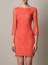 DVF Lace Zarita Dress Grapefruit US sz 8  UK sz 12