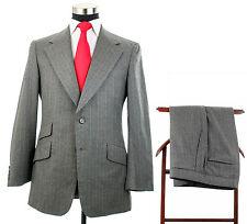 Vintage Osmun's Men's Hacking Gray Pinstripe Wool Suit Side Vent's Size 42